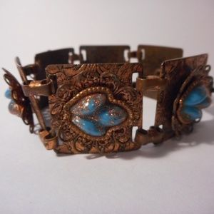 Jewelry - Vintage Copper Blue Square Link Bracelet